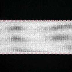 Aidaband 5 cm wit rand rose 20 meter