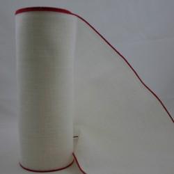 Linnenband 20 cm gebroken wit rand rood - 5 meter