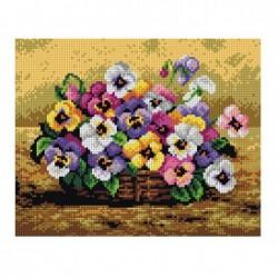 Mand met viooltjes 2213H 24x30 cm