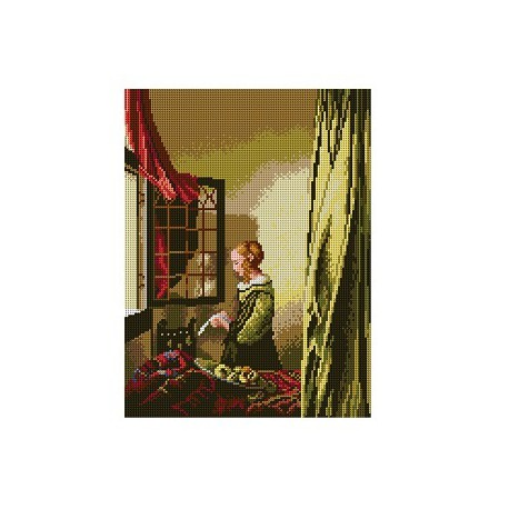 Brieflezend meisje bij het venster 1812J