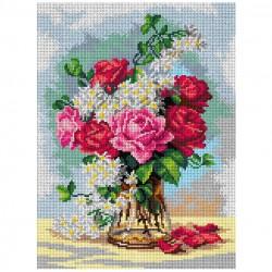 Boeket rozen op vaas 3002J 30x40 cm