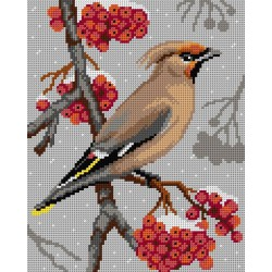 Vogel op tak (Waxwing)  3158H 24x30 cm
