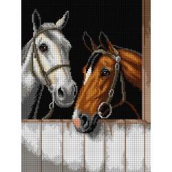 2 paarden op stal 3091J 30x40 cm