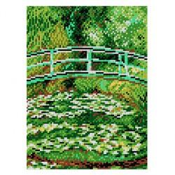 Brug over een vijver van waterlelies 1874F 18x24 cm